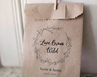 Love Grows Wild - Seeds Favor Bags - Wedding Favors - Seed Toss - Outdoor Send Off - 4 x 6 inch Kraft Paper Rustic Bags