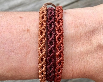 SALE Micro-Macrame Adjustable Bracelet Stack - Brown Mix