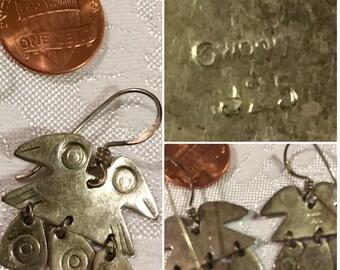 Vintage Sterling Silver 925 Double Head Bird Crow Dangle Earrings SKU 006-23