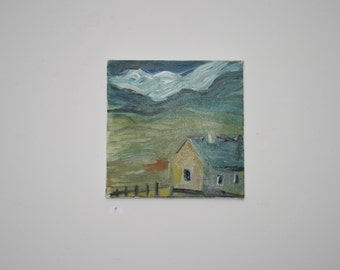 Oil on canvas of an Irish Cottage Landscape
