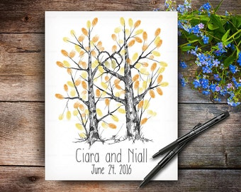 Custom Hand Drawn Fingerprint Tree, Wedding Guestbook Tree, Alternative Wedding Guest Book, Wedding Keepsake, Calligraphy Handlettered Font