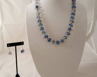 Ice Blue & Clear Glass Beaded Necklace - Ice Blue Necklace - Ice Blue Earrings- Blue Necklace- Blue Earrings- Clear Necklace- Clear Earrings