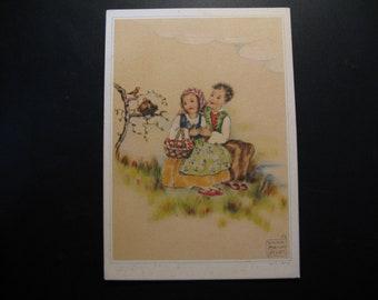 2 x Original vintage postcards boy and girl, Erna Maison Kurt