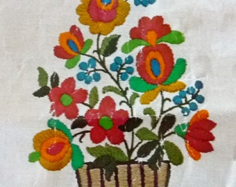 "Vintage WonderArt RHAPSODY Flowers Crewel Embroidery Kit, Pink Orange Turquoise Blue Green 11"" x 14"""
