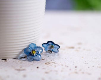 Handmade Forget-me-not stud earrings. Come in a gift box.
