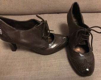 """Vintage Inspired Menswear Brown Connie Shoes 3.5"""" Heel Size 8.5"""