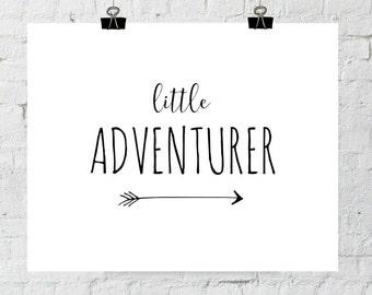 Adventure Print, Nursery Decor, Little Adventurer, Black and White Modern Nursery Wall Art Printable Instant Download, ADOPTION FUNDRAISER