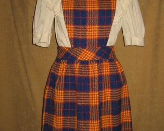"Plaid Jumper Dress 24"" Waist Darra of California 70s Vintage"