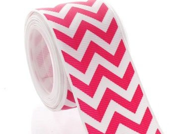 "1.5"" Shocking Pink Chevron ZigZag Grosgrain Ribbon - 5yds"