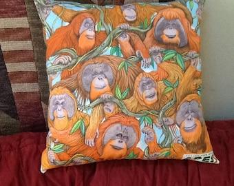 Orangutan Group on Pillow 19 inch square