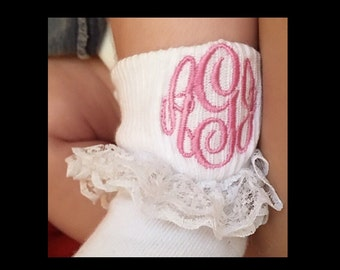 Baby Girl Monogrammed Ruffle Socks Toddler Monogrammed Ruffled Socks Easter Baby Dedication Coming Home Outfit Birthday Personalized Socks