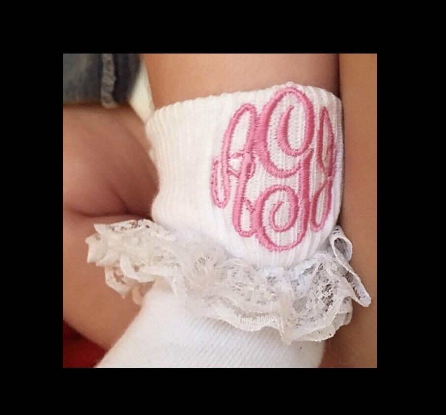 Baby Girl Monogrammed Ruffle Socks Toddler Monogrammed Ruffled