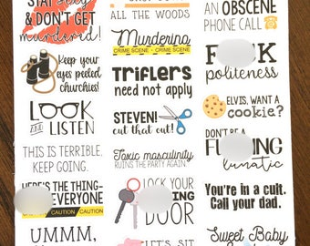 My Favorite Murder Quote Stickers - Mature - MFM Podcast Stickers - True Crime Planner Stickers - Funny Quotes Stickers - SSDGM - Murderino