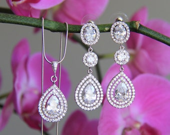 Bridal jewelry set - necklace and earrings, wedding, CZ jewelry, wedding jewelry, bridal jewelry, wedding necklace, wedding earrings