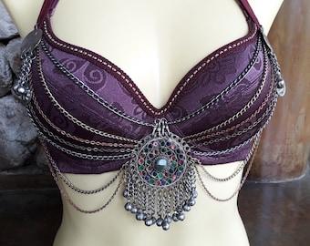 Belly dance, tribal fusion bra, tribal bra, size B