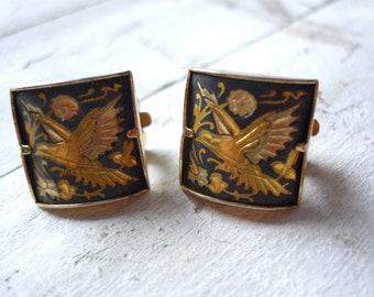 Earrings damascene, 60s earrings, earrings vintage earrings black and silver, divinelolavinge