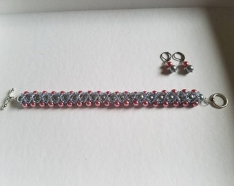 Pink and Gray Woven Bracelet and Earring Set