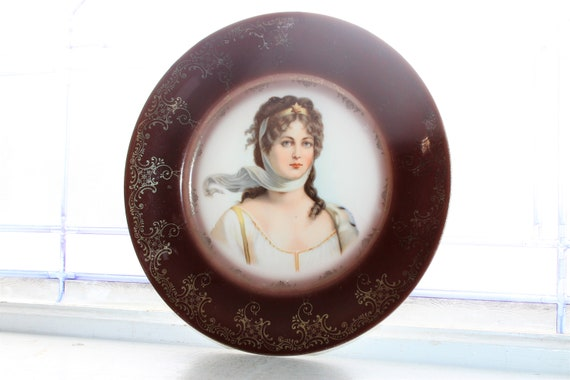 Antique Portrait Plate Queen Louise Royal Vienna Beehive Mark