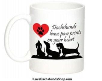 Dachshund Mug Paw Prints on Your Heart