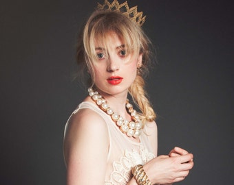 """Gold Maiden Fairy Tale Lace Crown - """"The Princess Crown"""" - princess, royal, halloween, birthday"""