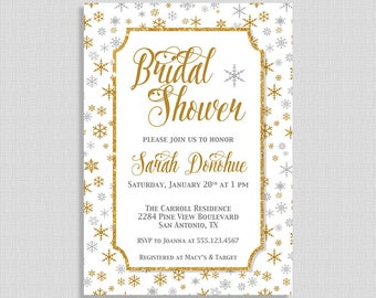 Winter Bridal Shower Invitation, Silver, Gold & White Snowflake Invite, Wedding Shower Invite, DIY PRINTABLE