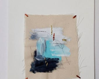 Hand stitched art, abstract painting, embroidery art, wall art
