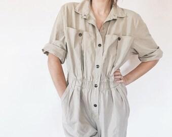 1980's Tan Button Up Vintage Jumpsuit / Coveralls