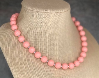 Simple Peach Necklace, Pink, Peach Necklace, Beaded Necklace, Gumball Necklace, Simple Necklace, Acrylic Bead Necklace, Strand Necklace