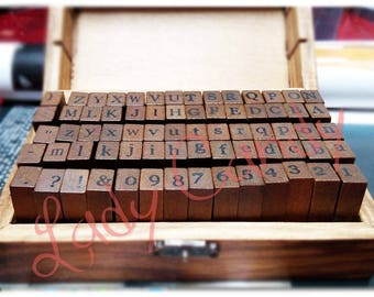 Box 70 two Alphabets typist + numbers and punctuation stamps / box wood #4327