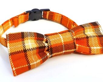 Cat Bowtie - slide on - orange plaid tartan