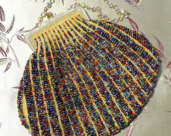 Jewels-on-Yellow Bead-Knitted Handbag