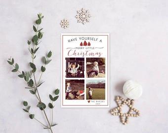 Christmas/Holiday Card - Merry Little Christmas Card - Printable - Holiday - Four Photo - Digital Greeting Card