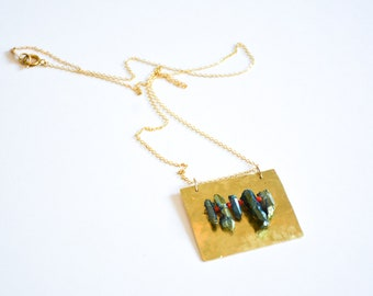 Bohemian Style Colorful Crystal Long Necklace, Unique Handmade Jewelry, Artistic Jewelry, Hammered Brass Necklace, Boho Jewelry