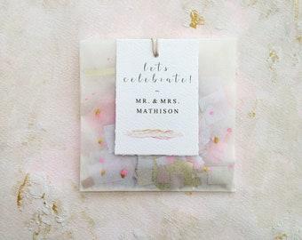 Sacs de confettis de mariage, fard à joues et les mariages or, étiqueté sacs de confettis, des faveurs de mariage peint à la main