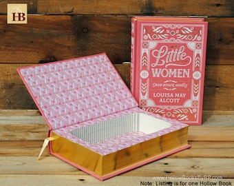 Book Safe - Little Women - Pink Leather Bound Hollow Book Safe