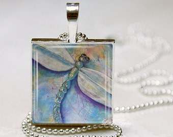 Purple oil pastel painting dragonfly glass tile necklace, insect print, dragonfly pendant, purple wax cord chain