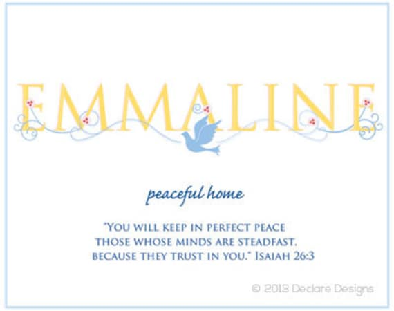 EMMALINE Name Art Canvas with Name Meaning and Scripture Verse, 16x20 - Wall art baby name meaning