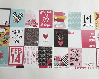POCKET SCRAPBOOKING, Love and Adore, Two Sheets,Valentines Day, 12 x 12 Scrapbook Paper, Pocket Letters, Scrapbooking, Scrapbook