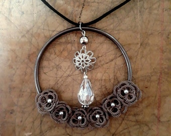 Long necklace, black, silver and grey, textile necklace, handmade lace, ONE OF A KIND, original design, garland necklace