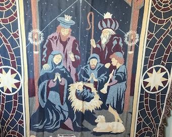 Goodwin Weavers Nativity Cotton Blanket or Throw