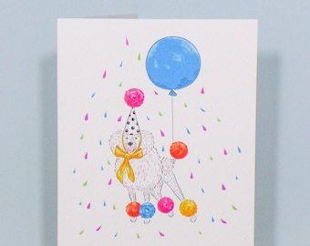 Party Poodle, Greetings Card - Dandy Dogs. Free UK shipping