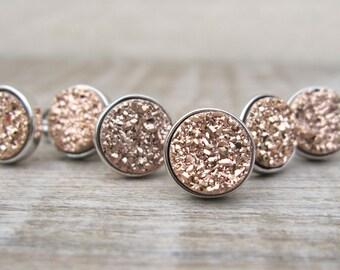 Bridesmaids gift, bridesmaid jewelry, rose gold druzy stud set, druzy earrings, set of earrings, rose gold earrings, raw stone earrings