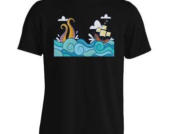 With Pirate Ship Waves Men's T-Shirt h235m