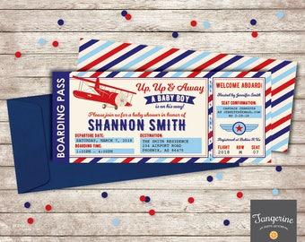 Airplane Baby Shower Invitation, Airplane Invitation, Vintage Airplane Baby Shower, Airplane Ticket Invitation, Printable PDF File