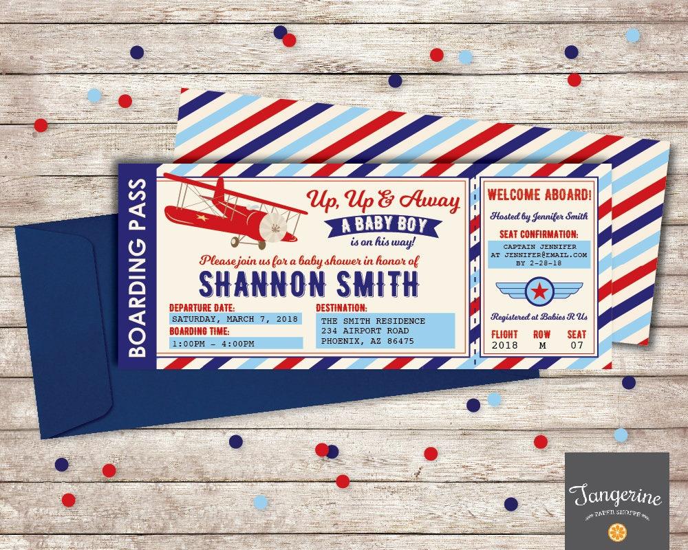 Airplane Baby Shower Invitation Airplane Invitation Vintage