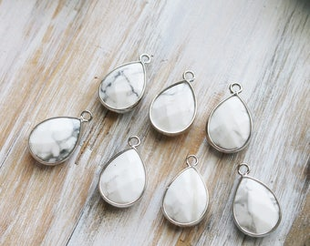 Teardrop Charm, Faceted Charm, White Howlite Charm, Bracelet Charm, Gemstone Charm, Silver Edged Charm, Small Pendant, Set of 1