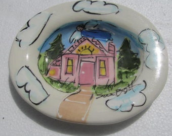 Sue Bolt Soap Dish Holder Hand Made Ceramics - Signed by The Artist