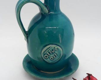 turquoise olive oil container