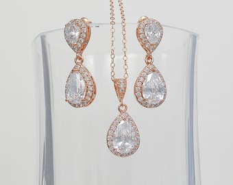 Bridal Cubic Zirconia Jewelry Set, Stud Earrings Necklace, Sterling Silver or Rose Gold Filled Chain, Lauren Set- Ships in 1-3 Business Days