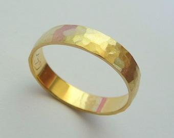 Gold wedding band men women ring 14k hammered 4mm sandblast finish nature